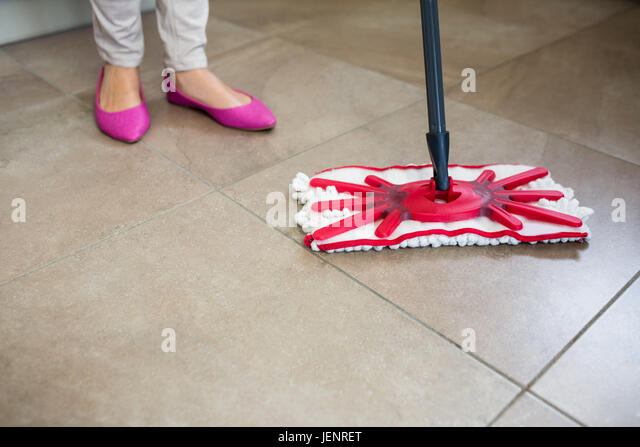 Woman Cleaning Kitchen Floor Mop Stock Photos & Woman Cleaning ...