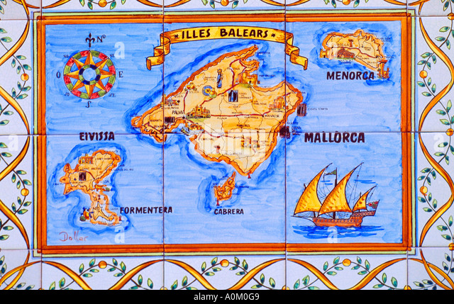 Map Balearic Islands Stock Photos Map Balearic Islands Stock