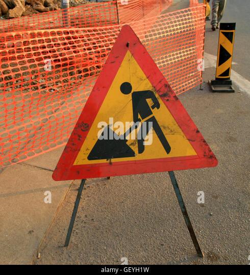 road works warning sign stock photos amp road works warning