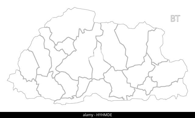Bhutan Black And White Stock Photos Images Alamy - Map of bhutan with districts
