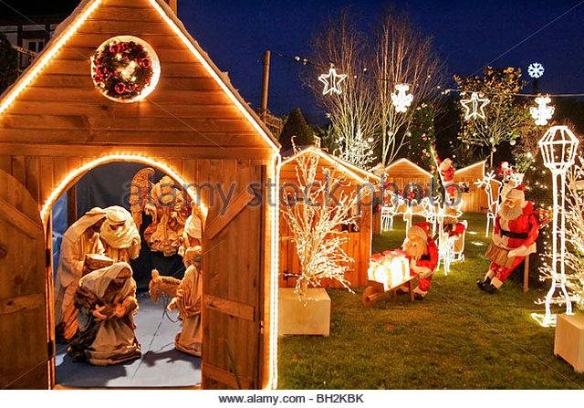 village lit up for christmas celebrations la lande sur eure orne