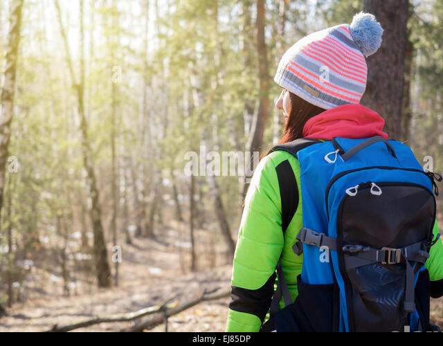 Older Woman Hiking In Forest Stock Photos & Older Woman Hiking In ...