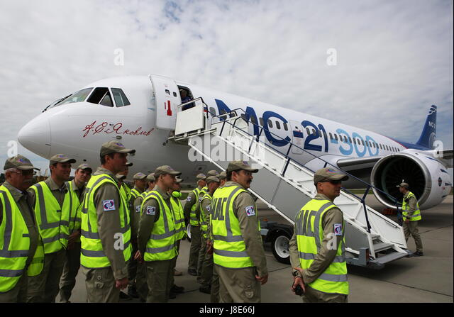 Irkutsk, Russia. 28th May, 2017. A new Russian-made Irkut MC-21-300 twinjet airliner after its first test flight - Stock Image