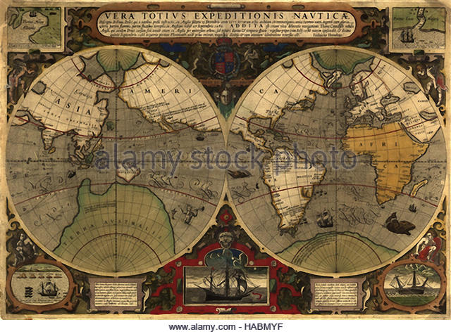 Historical map world stock photos historical map world stock antique historical world mercator map from 1595 map shows expeditions from around the world gumiabroncs Choice Image