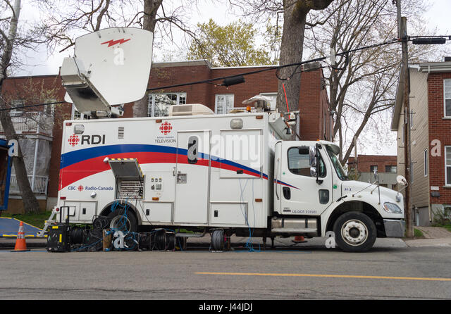 Montreal, CA - 08 May 2017: CBC Radio Canada Broadcast truck parked on Cousineau street - Stock Image