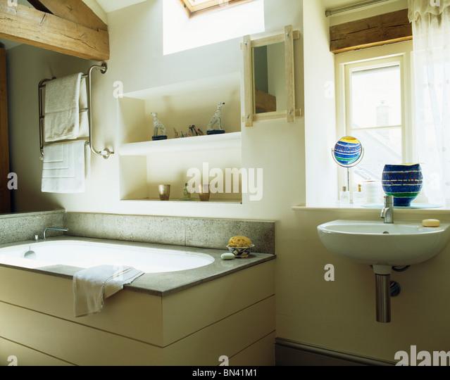 Alcove shelving above bath in stock photos alcove for Bathroom alcove shelves