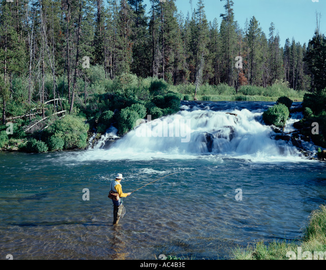 Fishing rod and creel stock photos fishing rod and creel for Central oregon fishing report