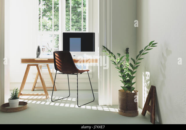 home office simple neat. monochromatic white home office or study interior with a simple table desk computer and potted plants neat