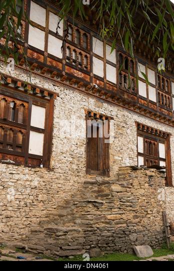 Bhutan Eastern Bhutan Ura Village Traditionally Constructed Stone