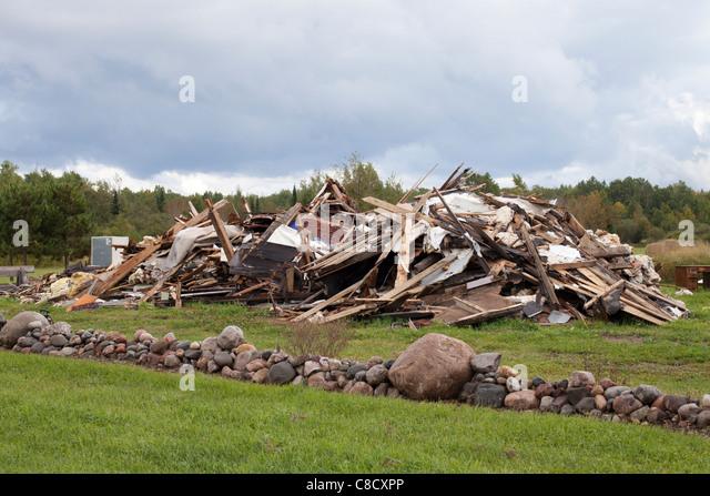 Pile Of Building Debris : Destroyed building debris stock photos