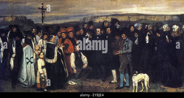 an analysis of burial at ornans by gustave courbet On exhibit with burial at ornans in 1850-51, was the stonebreakers (1849) and the peasants of flagery returning from the fair (1850) burial itself was startling in its size and subject matter, but the public believed that courbet was satirizing social values with the other two paintings.