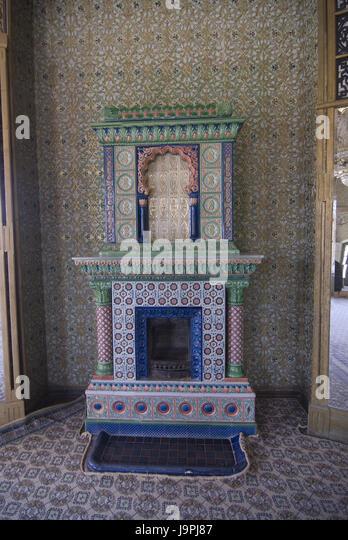 Interior shot of the Nurullaboy of palace with chimney,Khiva,Uzbekistan, -  Stock