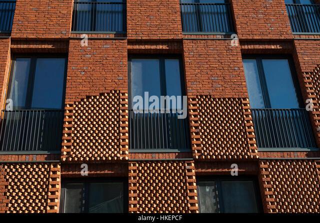 Modern Brick Apartment Building facade brick apartment house conceptual stock photos & facade
