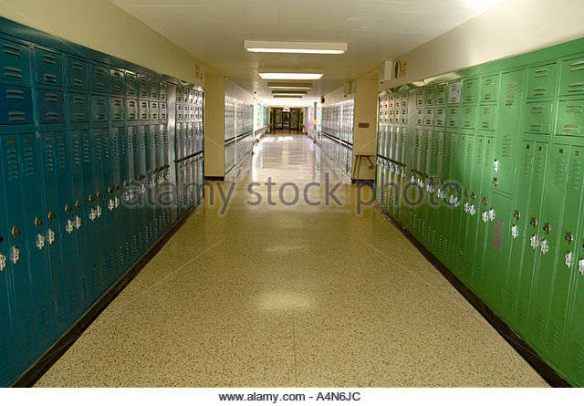hallway at school. empty school hallway with rows of green and blue lockers stock image at