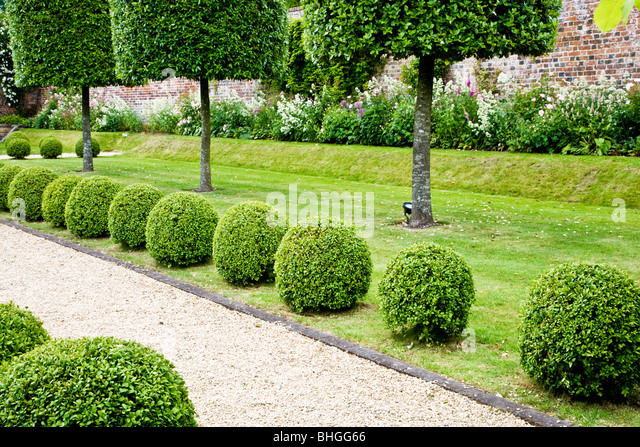 Topiary Along A Gravel Path In An English Country Garden Stock Image