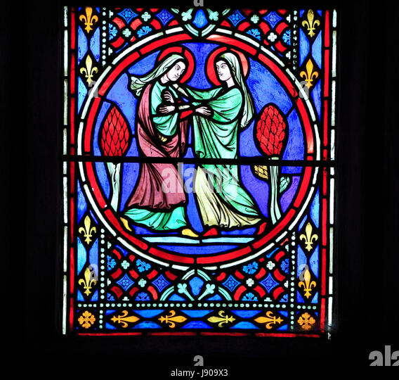 Nativity Window, stained glass by Oudinot of Paris, 1861, Feltwell Church, Norfolk, Visit of Virgin Mary to her - Stock Image