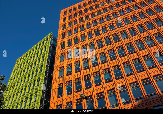 brightly colored office blocks at central st giles london where google has its offices stock central saint giles office building google