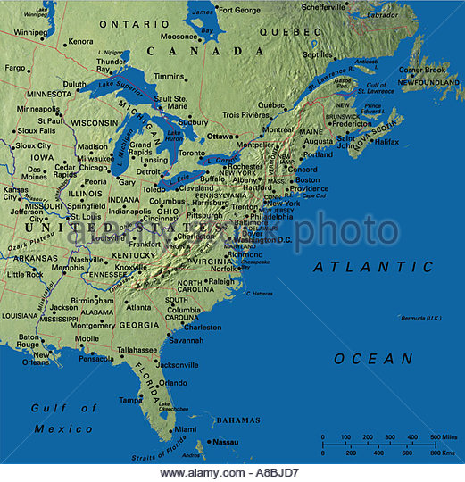 Map Maps Usa Florida Canada Stock Photos  Map Maps Usa Florida