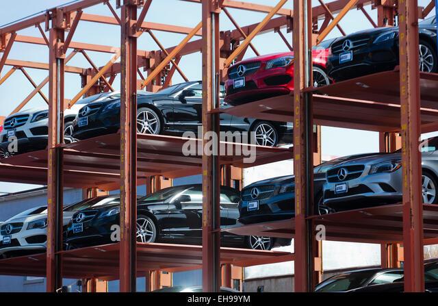 Steel Framed Cars : Auto dealership stock photos