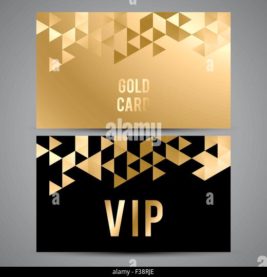 VIP Cards. Black And Golden Design. Triangle Decorative Patterns.   Stock  Image  Club Card Design