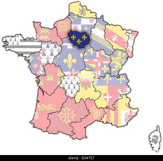 Paris Administrative Map Flag Stock Photos Paris Administrative
