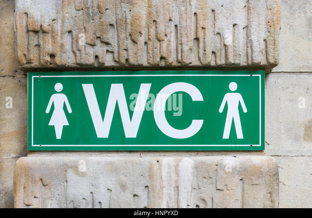 A Green WC Water Closet Sign.   Stock Image