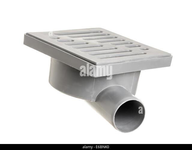Gray PVC Floor Drain Shot On White   Stock Image