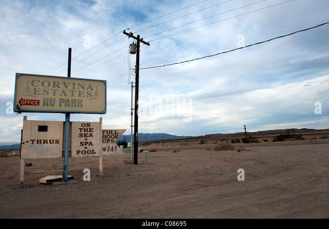 Sign At The Entrance Of An RV Park On Shore Salton Sea California