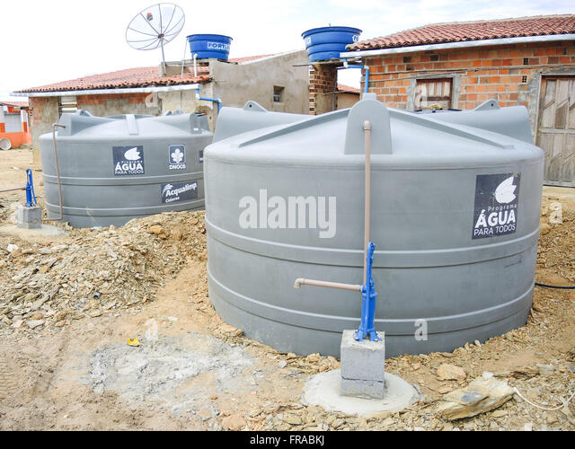 tanks plastic water for all programme of the federal government stock image