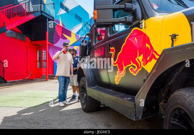 Vancouver, Canada. 24th Jun, 2017. Red Bull vehicle, Strathcona Street Party, Vancouver Mural Festival, Vancouver, - Stock Image
