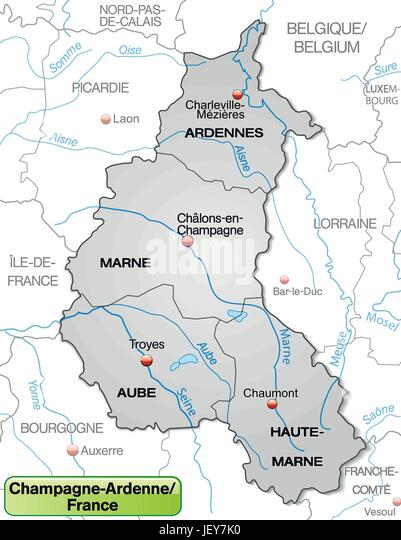 map of champagne ardenne with borders in gray stock image