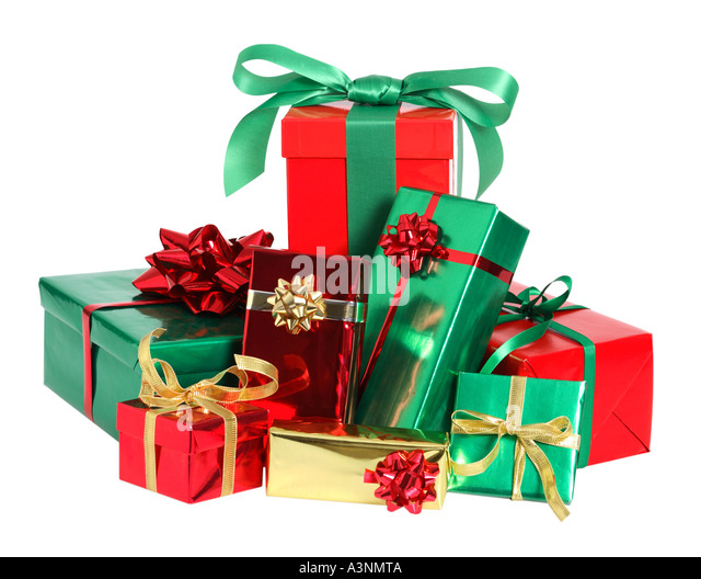 Christmas Presents Pile Cut Out Stock Images & Pictures - Alamy