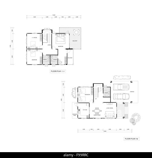 Upstairs cut out stock images pictures alamy for Who draws house plans near me