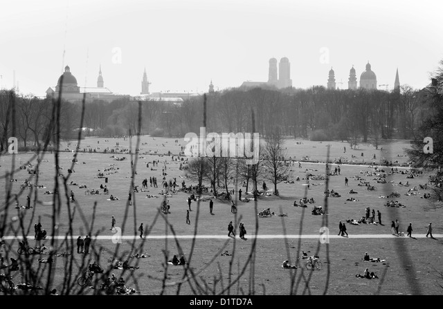 Black And White Image Of The English Garden In Spring In Munich, Munichu0027s  Skyline In