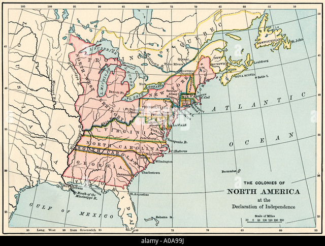 British North American Colonies In 1776 Stock Image
