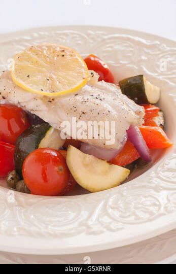 Fish Provencal a seafood dish of roasted vegetables and white fish ...