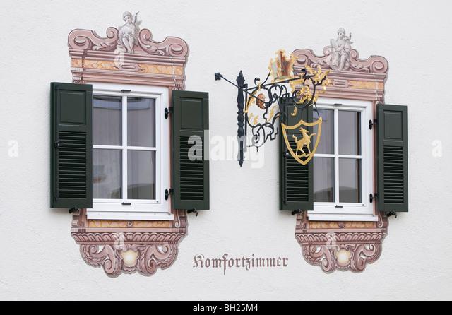 decorative windows kitzbuhel austria stock image - Decorative Windows