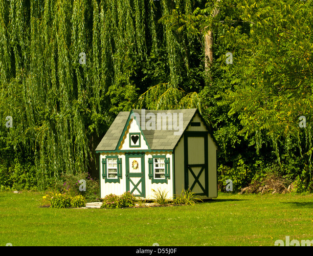 Garden Sheds That Look Like Houses landscaped garden shed stock photos & landscaped garden shed stock