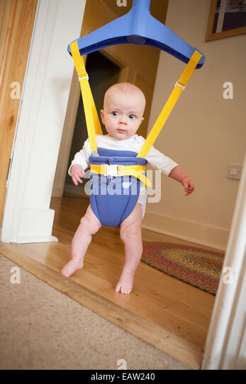 Baby in a door bouncer - Stock Image  sc 1 st  Alamy & Baby In Door Bouncer Stock Photos u0026 Baby In Door Bouncer Stock ... pezcame.com