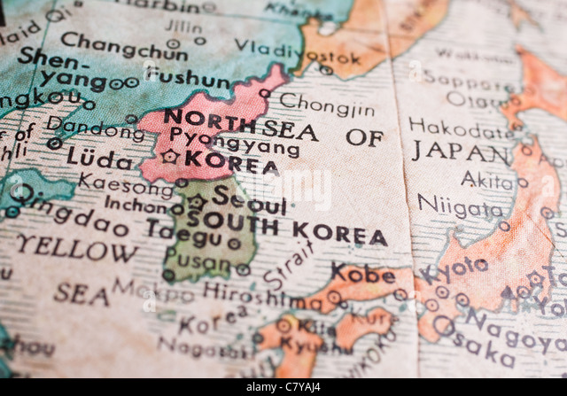 South And North Korea Map Stock Image