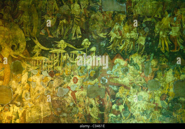 Ajanta caves painting stock photos ajanta caves painting for Ajanta mural painting