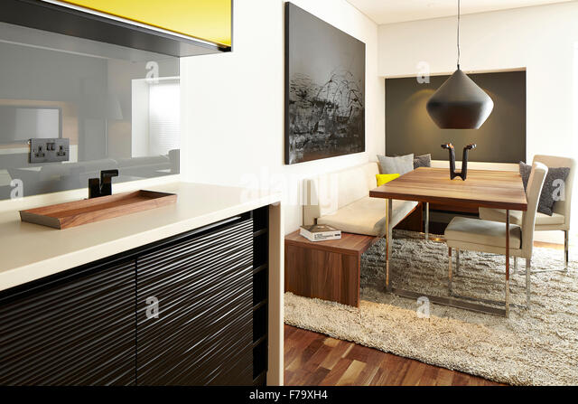 Interior Kitchen Dining Area In 2 Bed Apartment Farringdon London England UK