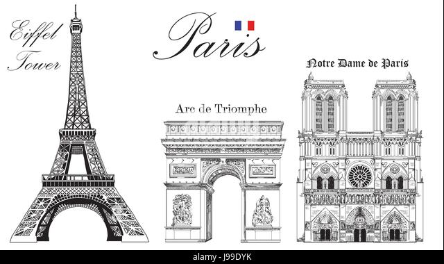 Vector Eiffel Tower Triumphal Arch And Notre Dame Cathedral Hand Drawing Image