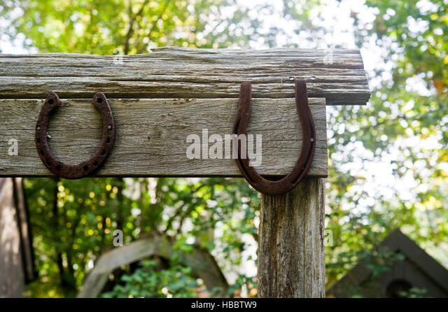 Two Horseshoes On An Old Rustic Garden Gate   Stock Image