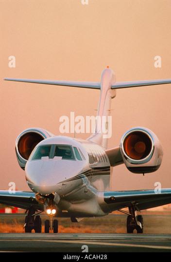 Cessna Citation X Business Jet At Dusk Sunset Sunrise Stock Image