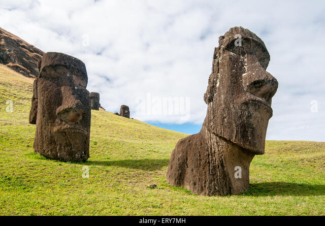 Carvings easter island moai stock photos