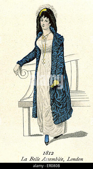 Assembl 233 e london 1812 white empire dress and blue coat stock image