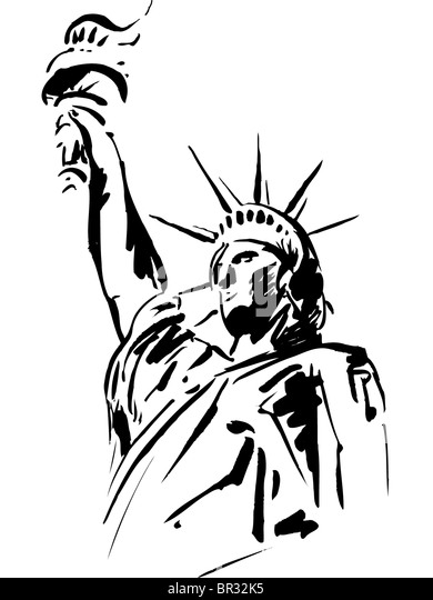 a black and white sketch of the statue of liberty stock image