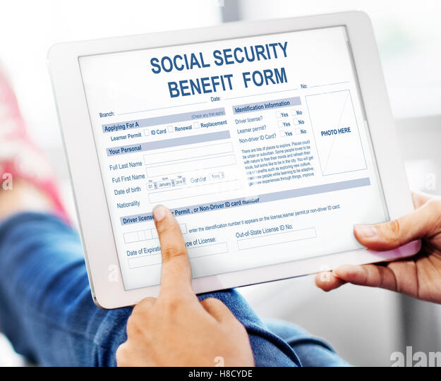 Social Security Benefit Application Form Stock Photos  Social