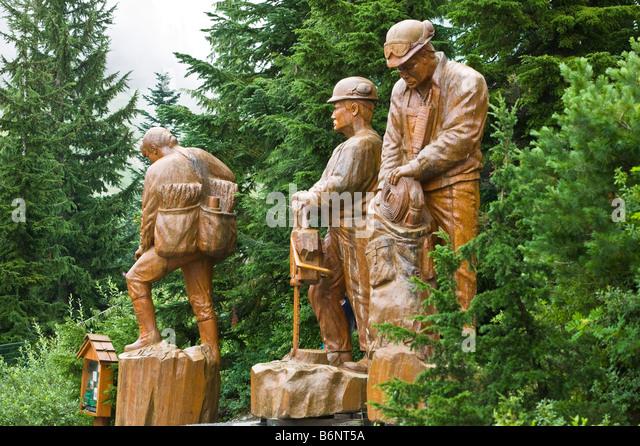 Wood carving grouse mountain stock photos